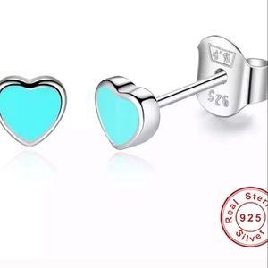 "NEW ""Tiffany"" Blue Baby Sterling Silver Earrings"